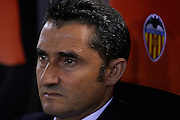 VALENCIA, SPAIN - APRIL 07: Coach of Valencia CF Ernesto Valverde looks on during the Liga BBVA between Valencia CF and Real Valladolid at the Mestalla stadium on April 07, 2013 in Valencia, Spain. (Photo by Aitor Alcalde Colomer).