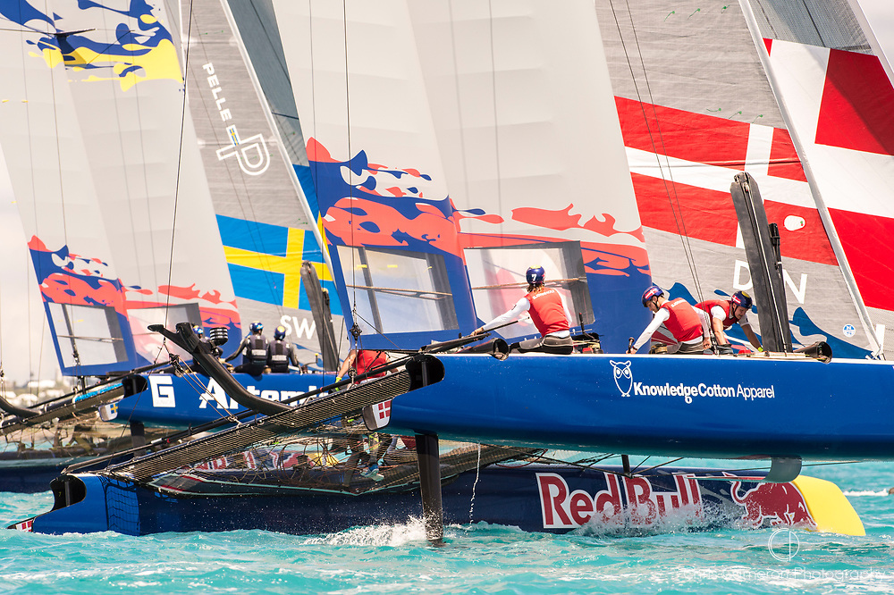 Great Sound, Bermuda. 15th June 2017. Red Bull Youth America's Cup. Start of race 2 of Qualifier 2 (Group A). Youth Vikings Denmark