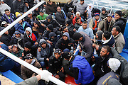 Thousands of immigrants have landed on the island of Lampedusa, south of Sicily, a number superior to that of the population of the island in March 2011.
