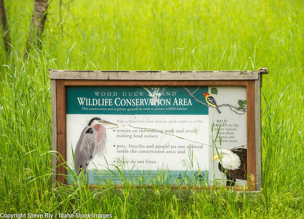 Wildlife Conservation sign on the Boise river Greebelt, Boise, Idaho