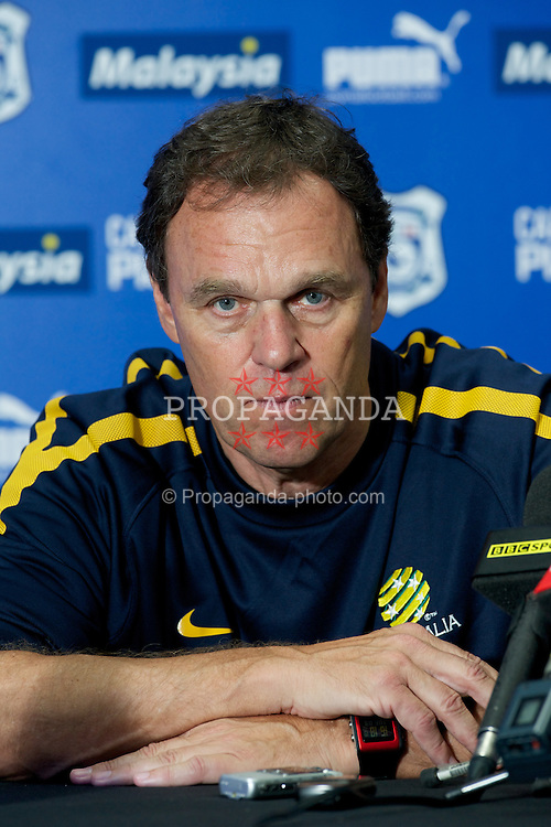 CARDIFF, WALES - Tuesday, August 9, 2011: Australia's' head coach Holger Osieck during a press conference at the Cardiff City Stadium ahead of the International Friendly match against Wales. (Photo by David Rawcliffe/Propaganda)