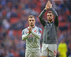 MANCHESTER, ENGLAND - Sunday, February 24, 2019: Liverpool's Xherdan Shaqiri applauds the travelling supporter after the FA Premier League match between Manchester United FC and Liverpool FC at Old Trafford. The game ended in a 0-0 draw. (Pic by David Rawcliffe/Propaganda)