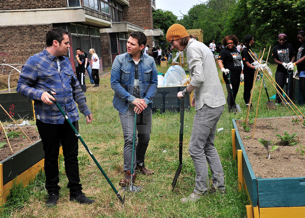 © licensed to London News Pictures. LONDON UK  02/06/11. Scouting for Girls visit the Orange rockCorps project helping to create allotment spaces for the community in Lambeth London. Please see special instructions for usage rates. Photo credit should read ALAN ROXBOROUGH/LNP