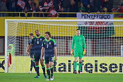 VIENNA, AUSTRIA - Thursday, October 6, 2016: Wales' goalkeeper Wayne Hennessey looks dejected as Austria score the first equalising goal during the 2018 FIFA World Cup Qualifying Group D match at the Ernst-Happel-Stadion. (Pic by David Rawcliffe/Propaganda)