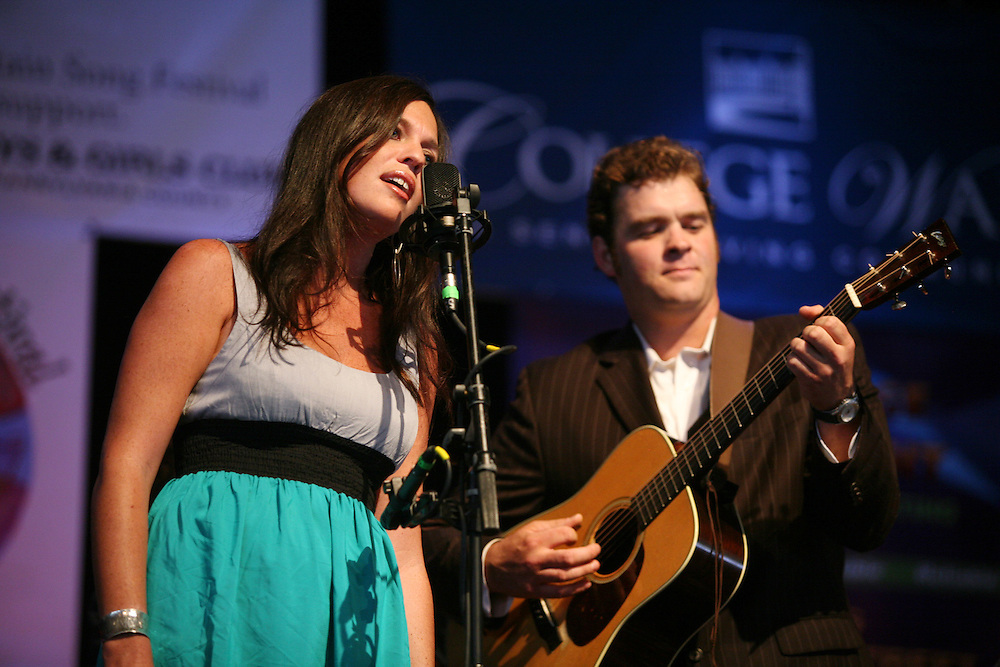 BREVARD, NC - SEPTEMBER 12 :  Shannon Withworth and Woody Platt on stage as the Steep Canyon Rangers perform in the Mountain Song Festival at The Brevard Music Center on September 12, 2009, in Brevard, North Carolina, USA. (Photo by Logan Mock-Bunting/Getty Images)