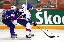 Tomo Hafner of Slovenia and Ivan Majesky of Slovakia at ice-hockey game Slovenia vs Slovakia at Relegation  Round (group G) of IIHF WC 2008 in Halifax, on May 09, 2008 in Metro Center, Halifax, Nova Scotia, Canada. Slovakia won 5:1. (Photo by Vid Ponikvar / Sportal Images)