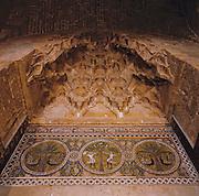 Palermo, Zisa castle, 12th century,muqarnas,  Fatimid art mosaic.<br /> Palermo, castello della Zisa,  XII sec,muqarnas, decorazione musiva, pittura fatimita siciliana.