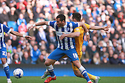 Brighton striker Tomer Hemed battles for possession during the Sky Bet Championship match between Brighton and Hove Albion and Preston North End at the American Express Community Stadium, Brighton and Hove, England on 24 October 2015. Photo by Bennett Dean.