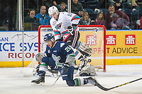 KELOWNA, CANADA - FEBRUARY 8: Ethan Bear #25 of Seattle Thunderbirds tries to block a pass to Tomas Soustal #15 of Kelowna Rockets on February 8, 2016 at Prospera Place in Kelowna, British Columbia, Canada.  (Photo by Marissa Baecker/Shoot the Breeze)  *** Local Caption *** Ethan Bear; Tomas Soustal;