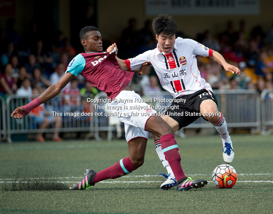 HKFC Citibank Soccer sevens Cup West Ham United vs FC Seoul .Olatunji Akinola of West Ham (L) is man handled by FC Seoul's  No 10 Lee Ing Yu
