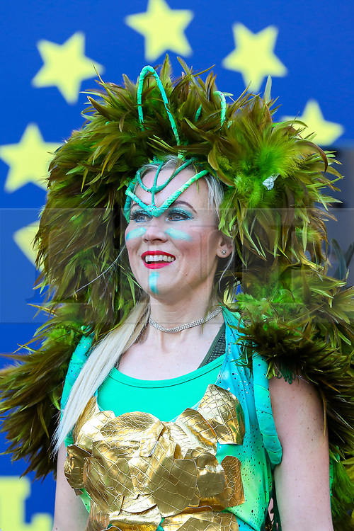 © Licensed to London News Pictures. 30/12/2019. London, UK. A performer from London School of Samba at the preview of the London New Year's Day Parade inCovent Garden Piazza.<br /> The London New Years Day Parade, in its 32nd year will take place on 1 January 2020 and will feature more than 10,000 performers from across the world. Photo credit: Dinendra Haria/LNP