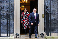 © Licensed to London News Pictures. 30/01/2020. London, UK. U.S. Secretary of State MIKE POMPEO departs from No 10 Downing Street after meeting Prime Minister BORIS JOHNSON and Foreign Secretary DOMINIC RAAB. Photo credit: Dinendra Haria/LNP