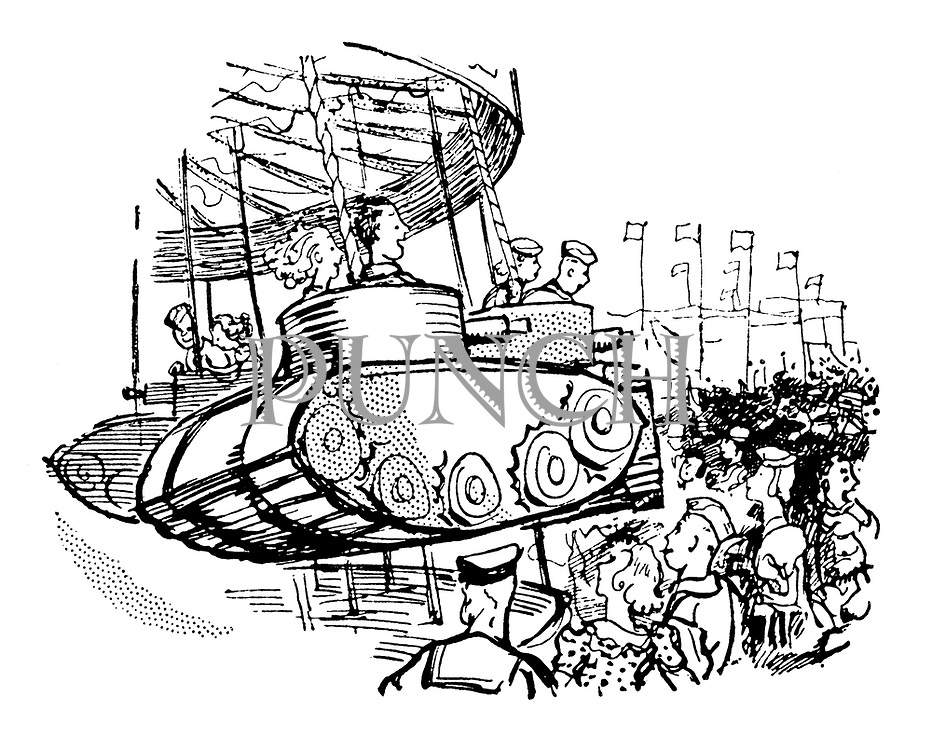 (At a funfair people ride on a merry-go-round in a tank)
