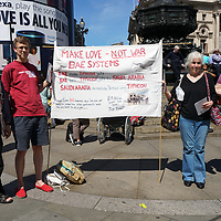 Campaign Against Arms Trade protest against UK Govt arms sell to Saudi, London,UK