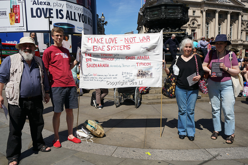 London UK. 3rd June 2017. Campaign Against Arms Trade protest against UK government arms sell to Saudi used its to kills tens of thousands of Yemeni at Piccadilly Circus, London,UK