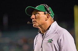 Oct 9, 2015; Huntington, WV, USA; Marshall Thundering Herd head coach Doc Holliday looks at the scoreboard during the fourth quarter against the Southern Miss Golden Eagles at Joan C. Edwards Stadium. Mandatory Credit: Ben Queen-USA TODAY Sports