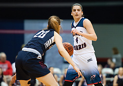 March 6 2016: Robert Morris Colonials guard Anna Niki Stamolamprou (4) handles the ball while being guarded by Fairleigh Dickinson Lady Knights guard Zeynep Akgun (20) during the first half in the NCAA Women's Basketball game between the Fairleigh Dickinson Lady Knights and the Robert Morris Colonials at the Charles L. Sewall Center in Moon Township, Pennsylvania (Photo by Justin Berl)