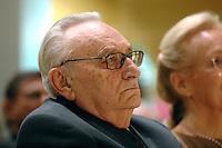 19 MAR 2007, BERLIN/GERMANY:<br /> Egon Bahr, SPD, Bundesminister a.D., Empfang zum 85. Geburtstag von Egon Bahr, Willy-Brandt-Haus<br /> IMAGE: 20070319-01-042