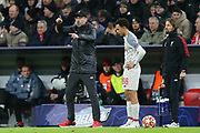 Liverpool manager Jurgen Klopp pointing, directing, signalling as Liverpool defender Trent Alexander-Arnold (66) waits to come on as a substitute for Liverpool midfielder Jordan Henderson (14) (not in picture) during the Champions League match between Bayern Munich and Liverpool at the Allianz Arena, Munich, Germany, on 13 March 2019.