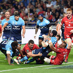 Alexandre Dumoulin of Montpellier scores a try during the Top 14 semi final match between Montpellier Herault Rugby and Lyon on May 25, 2018 in Lyon, France. (Photo by Alexandre Dimou/Icon Sport)