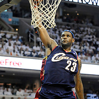 24 April 2007:  Cleveland Cavaliers forward LeBron James (23) slams in 2 of his game high 22 points in the 2nd half against the Washington Wizards in game three of the opening round of the Eastern Division Playoffs at Verizon Center in Washington, D.C. The Wizards defeated the Cavaliers 108-72.