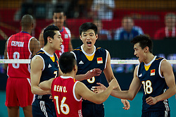 14.09.2014, Centennial Hall, Breslau, POL, FIVB WM, Kuba vs China, 2. Runde, Gruppe F, im Bild Chiny radosc // China gladness during the FIVB Volleyball Men's World Championships 2nd Round Pool F Match beween Cuba and China at the Centennial Hall in Breslau, Poland on 2014/09/14. EXPA Pictures © 2014, PhotoCredit: EXPA/ Newspix/ Sebastian Borowski<br /> <br /> *****ATTENTION - for AUT, SLO, CRO, SRB, BIH, MAZ, TUR, SUI, SWE only*****