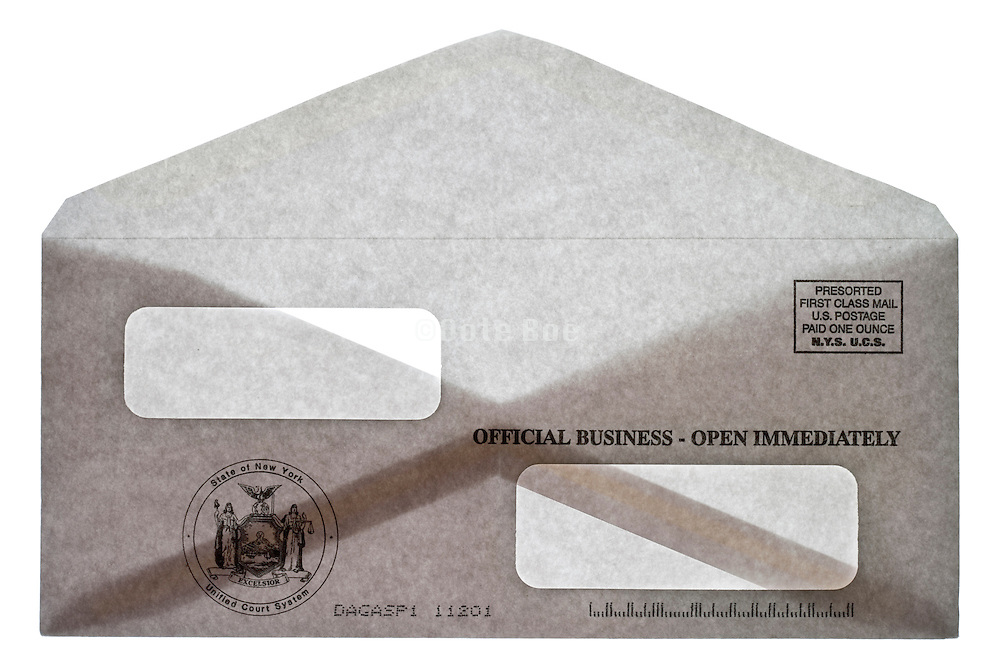 a open envelope from the State of New York United Court System with two address windows