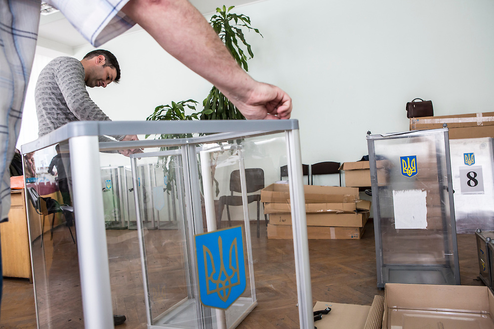 DONETSK, UKRAINE - MAY 10: Ballot boxes are prepared at a polling station on May 10, 2014 in Donetsk, Ukraine. A referendum on greater autonomy is planned for the region tomorrow. (Photo by Brendan Hoffman/Getty Images) *** Local Caption ***