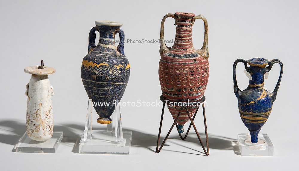 Core-formed Glass vessels 4-5th century BCE From left to right Alabastron, Amphoriskos, Amphoriskos and Amphora