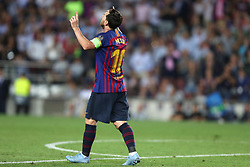 September 18, 2018 - Barcelona, Catalonia, Spain - Lionel Messi of FC Barcelona celebrates after scoring his side's third goal during the UEFA Champions League, Group B football match between FC Barcelona and PSV Eindhoven on September 18, 2018 at Camp Nou stadium in Barcelona, Spain (Credit Image: © Manuel Blondeau via ZUMA Wire)