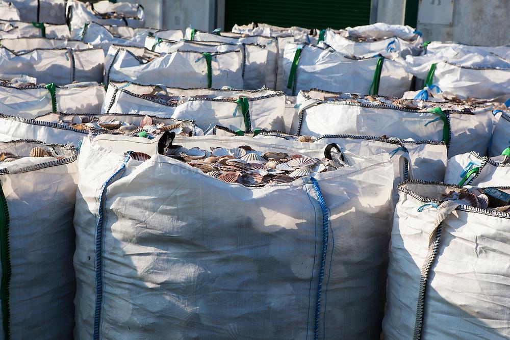 Sacks of scallop shells at Kilmore Quay, Wexford, Ireland.