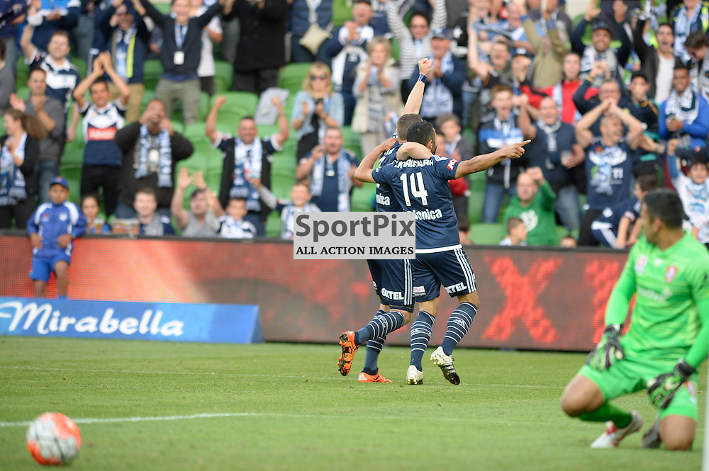 Fahid Ben Khalfallah of Melbourne Victory scores the opening goal of the Hyundai A-League, January 15th 2016, RD15 match between Melbourne Victory FC v Brisbane Roar FC in a 4:0 win to Victory in a comfortable win over Roar at Aami Park,  Melbourne, Australia. © Mark Avellino | SportPix.org.uk