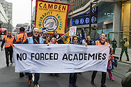 Teachers march along Victoria Street in Westminster, London on their way to a rally against Education Secretary Nicky Morgan's proposal that all schools be turned into academies.<br /> Picture by Paul Davey/Focus Images Ltd +447966 016296<br /> 23/03/2016