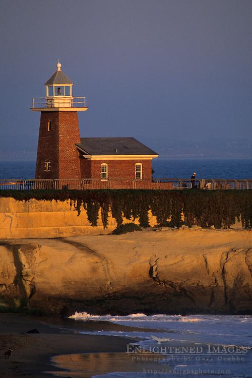 Lighthouse and beach at sunset (Surfing Museum) Santa Cruz, CALIFORNIA