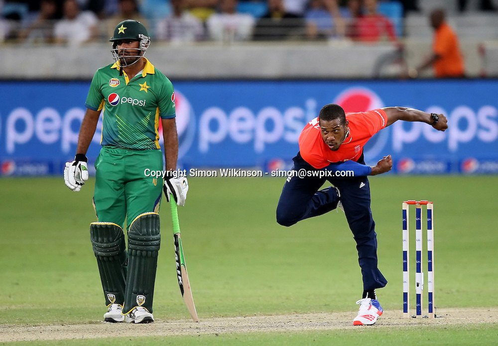 PICTURE BY MARK GREEN/SWPIX.COM  Pakistan v England 1st T20, Dubai Internayional Stadium, UAE, 26/11/15 <br /> England pace bowler Chris Jordan didn't take any wickets and conceded 37 runs in 4 overs