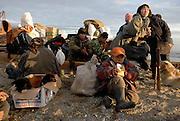 Reindeer men in the tundra. The Chukotka Peninsula, Russia