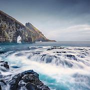 Breaking tides, Drangarnir and Tindhólmur, Sørvágsfjørður fjord, Vágoy