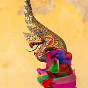 Intricate dragon carving called a Naga at Wat Si Saket in Vientiane, Laos