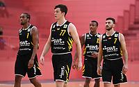 Basketball 2. Bundesliga 2019/2019  Testspiel  14.09.2019 Tigers Tuebingen - Starwings Basel Tigers Team; Marvin Smith, Sven Stammberger, Kris Davis und Besnik Bekteshi (v.li.)