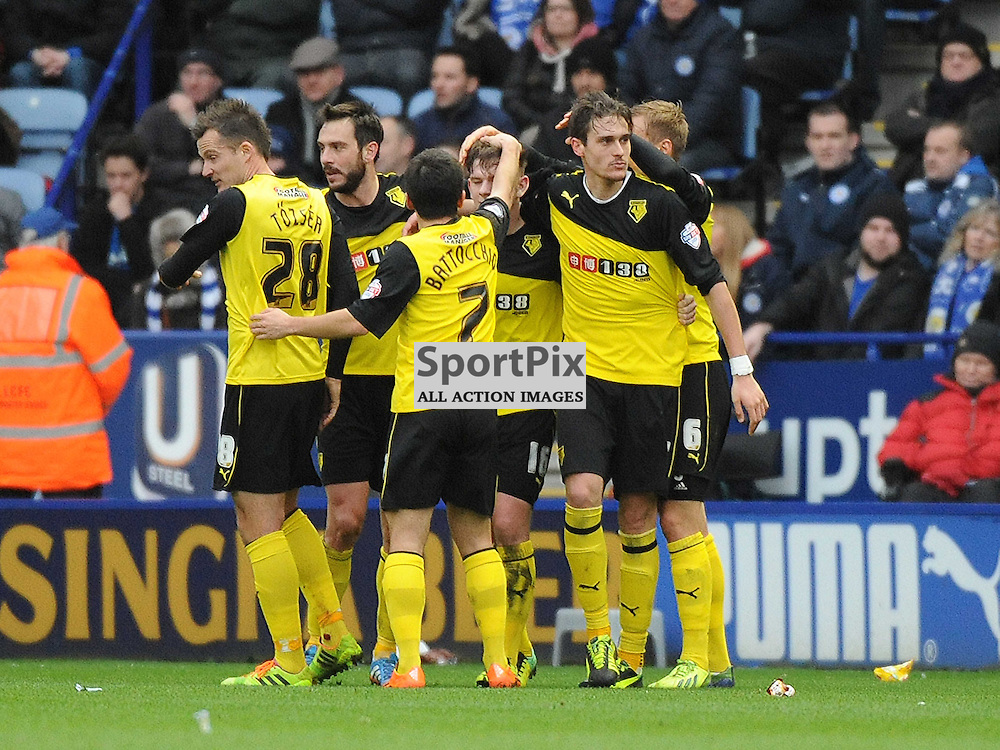Watford Celebrate their Second Goal from Sean Murray, at Leicester King Power Stadium, Leicester City v Watford, Sky Bet Championship, Saturday 8th Febuary 2014