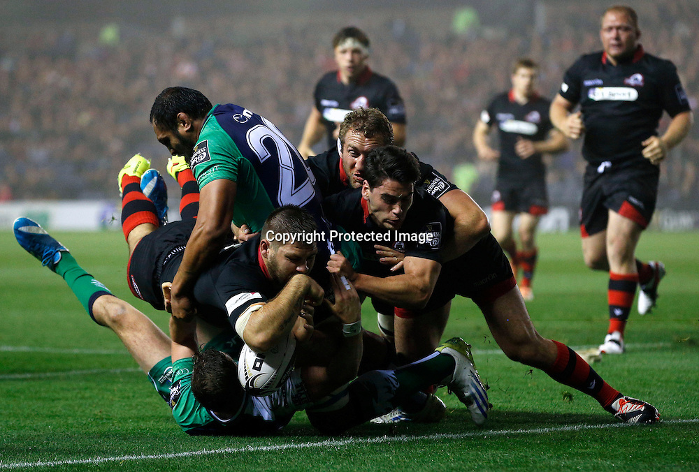 Guinness PRO12, BT Murrayfield, Scotland 12/9/2014<br /> Edinburgh vs Connacht<br /> Edinburgh's Cornell Du Preez fails to score a late try<br /> Mandatory Credit &copy;INPHO/Russell Cheyne