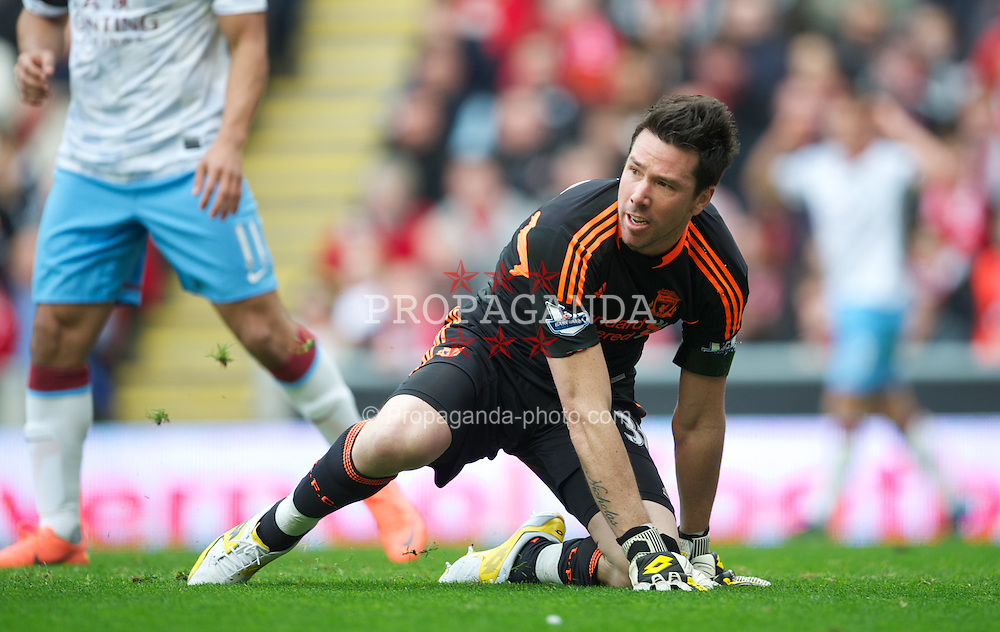LIVERPOOL, ENGLAND - Saturday, April 7, 2012: Liverpool's goalkeeper Alexander Doni, making his first team debut, in action against Aston Villa during the Premiership match at Anfield. (Pic by David Rawcliffe/Propaganda)