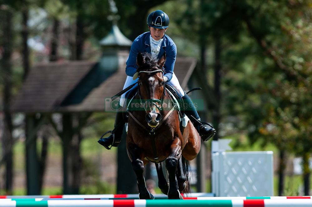 March 22, 2019 - Raeford, North Carolina, US - March 22, 2019 - Raeford, N.C., USA - MADELINE SCOTT of the United States riding CROSBY'S GOLD competes in the show jumping CCI-4S division at the sixth annual Cloud 11-Gavilan North LLC Carolina International CCI and Horse Trial, at Carolina Horse Park. The Carolina International CCI and Horse Trial is one of North AmericaÃ•s premier eventing competitions for national and international eventing combinations, hosting International competition at the CCI2*-S through CCI4*-S levels and National levels of Training through Advanced. (Credit Image: © Timothy L. Hale/ZUMA Wire)