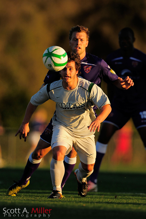 Stetson University Hatters midfielder Fabrizio Chiari (23) during the Hatters game against Orlando City Lions at the Seminole Soccer Complex on Mar 13, 2013  in Sanford, Florida. ..©2013 Scott A. Miller