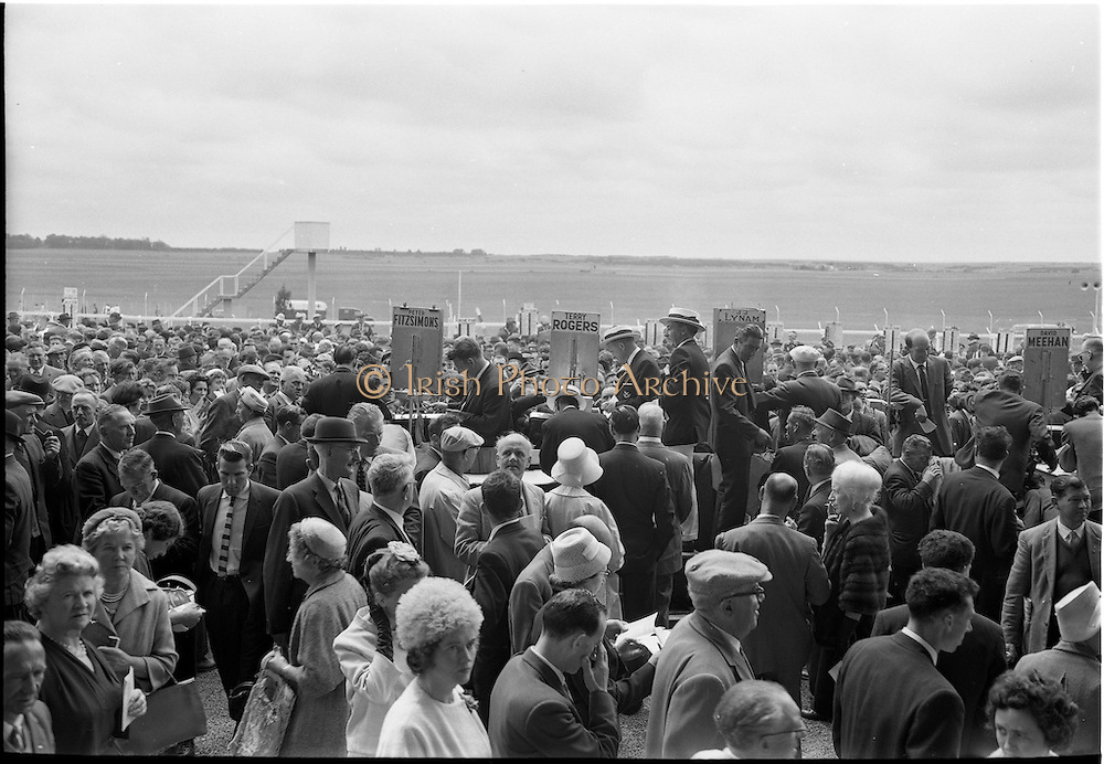 0/06/1962 <br /> 06/30/1962<br /> 30 June 1962<br /> Irish Sweeps Derby at the Curragh Racecourse, Co. Kildare. General view of the Bookies plying their trade at the races. Names vidible are Peter Fitzsimons, Terry Rogers, J.J. Lynam and David Meehan.
