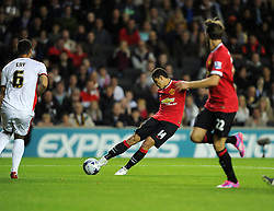 Manchester United's Javier Hernandez Shoots - Photo mandatory by-line: Joe Meredith/JMP - Mobile: 07966 386802 26/08/2014 - SPORT - FOOTBALL - Milton Keynes - Stadium MK - Milton Keynes Dons v Manchester United - Capital One Cup
