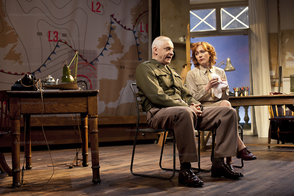 The Lyceum present the World Premiere of Pressure<br /> By David Haig<br /> <br /> Picture shows : Laura Rogers as Kay Summersby and Malcolm Sinclair &ndash; General Dwight D &ldquo;Ike&rdquo; Eisenhower <br /> <br /> <br /> Picture : Drew Farrell<br /> Tel : 07721 -735041<br /> www.drewfarrell.com<br /> 