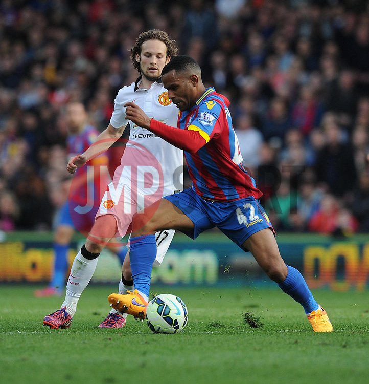 Crystal Palace's Jason Puncheon battles for the ball with Manchester United's Daley Blind - Photo mandatory by-line: Alex James/JMP - Mobile: 07966 386802 - 09/05/2015 - SPORT - Football - London - Selhurst Park - Crystal Palace v Manchester United - Barclays Premier League