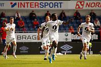 Fotball , 01 Juli 2020 , Eliteserien, AaFK - Mjøndalen , Shuaibu Ibrahim feirer 0-1 mål.<br /> <br /> Shuaibu Ibrahim , MIF<br /> , Foto: Srdan Mudrinic, Digitalsport
