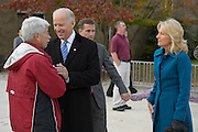 Vice President Joseph R. Biden and his wife Dr. Jill Biden greet Larry Zutz after leaving their polling place in Greenville,Delaware on 6 November 2012. Photograph by Jim Graham